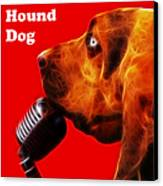 You Ain't Nothing But A Hound Dog - Red - Electric - With Text Canvas Print by Wingsdomain Art and Photography