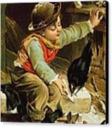 Young Boy With Birds In The Snow Canvas Print by English School