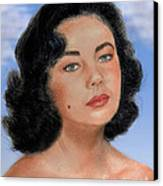 Young Liz Taylor Portrait Remake Version II Canvas Print by Jim Fitzpatrick