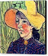 Young Peasant Girl In A Straw Hat Sitting In Front Of A Wheatfield Canvas Print by Vincent van Gogh