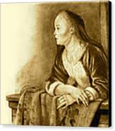Young Woman On A Balcony Sepia Canvas Print by Joyce Geleynse
