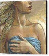 Young Woman With Blue Drape Crop Canvas Print by Zorina Baldescu