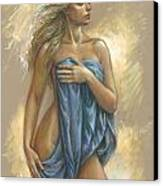 Young Woman With Blue Drape Canvas Print by Zorina Baldescu