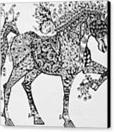 Zentangle Circus Horse Canvas Print by Jani Freimann
