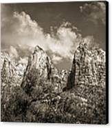 Zion Court Of The Patriarchs In Sepia Canvas Print by Tammy Wetzel