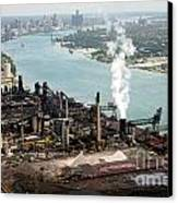 Zug Island Industrial Area Of Detroit Canvas Print by Bill Cobb