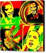 4 Rasta Obama Canvas Print by Tony B Conscious