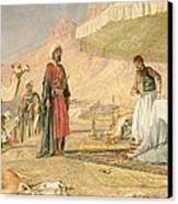 A Frank Encampment In The Desert Of Mount Sinai Canvas Print by John Frederick Lewis