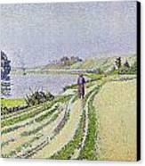 Herblay La River  Canvas Print by Paul Signac