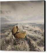 Abandoned Antique Baby Carriage In Field Canvas Print by Sandra Cunningham