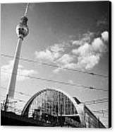 berliner fernsehturm Berlin TV tower symbol of east berlin and the Alexanderplatz railway station Canvas Print by Joe Fox