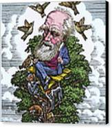 Charles Darwin In His Evolutionary Tree Canvas Print by Bill Sanderson