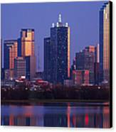 Dallas Skyline Reflected In Pond At Dusk Canvas Print by Jeremy Woodhouse