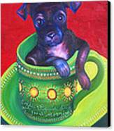 Dog In Cup Canvas Print by Gail Mcfarland