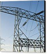 Electricity Pylons Against A Clear Blue Canvas Print by Iain  Sarjeant