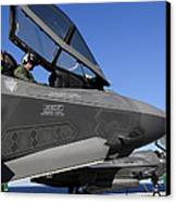 F-35b Lightning II Variants Are Secured Canvas Print by Stocktrek Images
