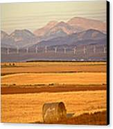 High Plains Of Alberta With Rocky Mountains In Distance Canvas Print by Mark Duffy