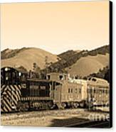 Historic Niles Trains In California.southern Pacific Locomotive And Sante Fe Caboose.7d10819.sepia Canvas Print by Wingsdomain Art and Photography