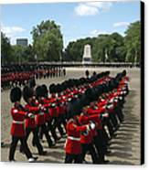 Irish Guards March Pass During The Last Canvas Print by Andrew Chittock