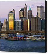 Lower Manhattan Skyline And Brooklyn Bridge At Dawn Canvas Print by Jeremy Woodhouse