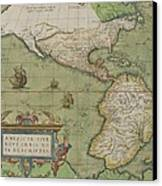 Map Of North And South America Canvas Print by Abraham Ortelius