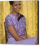 Michelle Obama Wearing An Anne Klein Canvas Print by Everett