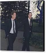 President George H.w. Bush Walks Canvas Print by Everett
