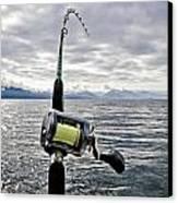 Salmon Fishing Rod Canvas Print by Darcy Michaelchuk