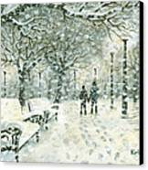 Snowing In The Park Canvas Print by Kalen Malueg