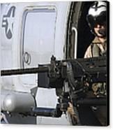 Soldier Mans A .50 Caliber Machine Gun Canvas Print by Stocktrek Images
