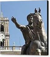 Statue Of Marcus Aurelius On Capitoline Hill Rome Lazio Italy Canvas Print by Bernard Jaubert