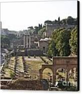Temple Of Vesta Arch Of Titus. Temple Of Castor And Pollux. Forum Romanum Canvas Print by Bernard Jaubert