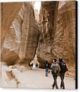 The Slot Canyons Leading Into Petra Canvas Print by Taylor S. Kennedy