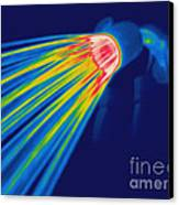 Thermogram Of A Shower Head Canvas Print by Ted Kinsman