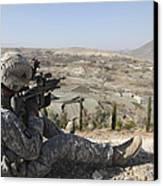 U.s Army Soldier Scans His Sector Canvas Print by Stocktrek Images