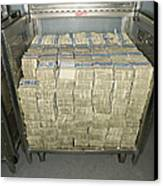 Us Dollar Bills In A Bank Cart Canvas Print by Adam Crowley