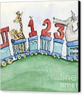 123 Animal Train Canvas Print by Annie Laurie