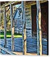 1860 Log Cabin Porch Canvas Print by Linda Phelps