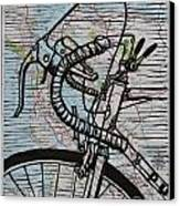Bike 2 On Map Canvas Print by William Cauthern