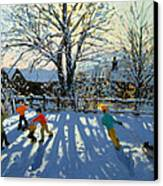 Fun In The Snow Canvas Print by Andrew Macara