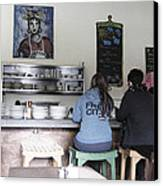 2 Girls At The Bakery Bar Canvas Print by Kym Backland