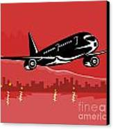 Jumbo Jet Plane Retro Canvas Print by Aloysius Patrimonio