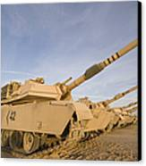 M1 Abrams Tanks At Camp Warhorse Canvas Print by Terry Moore