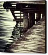 Old Wooden Pier With Stairs Into The Lake Canvas Print by Joana Kruse