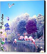 pink Flamingoes Canvas Print by Emily Campbell