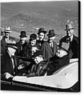 President Franklin D. Roosevelt In Car Canvas Print by Everett
