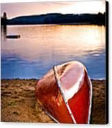 Lake Sunset With Canoe On Beach Canvas Print by Elena Elisseeva