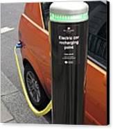 Recharging An Electric Car Canvas Print by Martin Bond