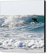 Surfers At Porthtowan Cornwall Canvas Print by Brian Roscorla
