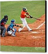 Professional Baseball Game In Taiwan Canvas Print by Yali Shi